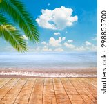 tropical sea and beach with... | Shutterstock . vector #298855700