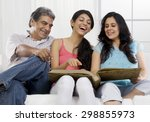 girl looking at the family... | Shutterstock . vector #298855973