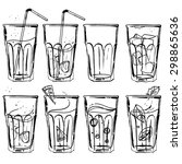 a set of glasses with drinks... | Shutterstock .eps vector #298865636