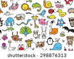 seamless pattern of doodle... | Shutterstock .eps vector #298876313