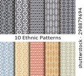 set of ten ethnic patterns | Shutterstock .eps vector #298879694