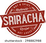 sriracha hot sauce label stamp | Shutterstock .eps vector #298882988
