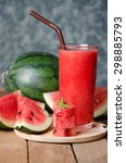 watermelon smoothie on wood... | Shutterstock . vector #298885793