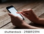 mock up of smart phone and girl ... | Shutterstock . vector #298892594
