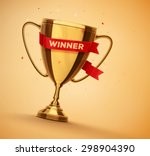 winner gold cup with red ribbon ... | Shutterstock .eps vector #298904390