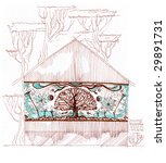 sketch of the facade decorated... | Shutterstock . vector #29891731