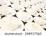 many rows of white ceramic... | Shutterstock . vector #298917560