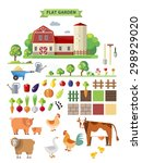 flat farm set. elements for... | Shutterstock . vector #298929020