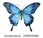 Stock photo watercolor butterfly the blue ulysses butterfly papilio ulysses painted illustration isolated 298935380