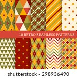 10 retro different seamless... | Shutterstock .eps vector #298936490