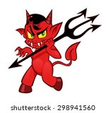 Cute Cunning Devil Walking Wit...