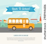 school bus with festive flags... | Shutterstock .eps vector #298944686