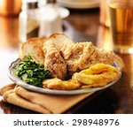 southern soul food with fried... | Shutterstock . vector #298948976