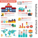 flat education infographic... | Shutterstock .eps vector #298949696