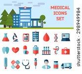 medical flat vector icons set.... | Shutterstock .eps vector #298949984