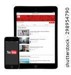 Постер, плакат: YouTube application on the