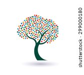 multicolored circles tree logo | Shutterstock . vector #299000180