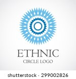 ethnic blue round circle...
