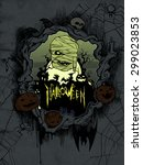 halloween frame with scary mummy   Shutterstock . vector #299023853