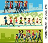 infogrphic of people adult and... | Shutterstock .eps vector #299033198