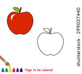 Cartoon Apple To Be Colored....