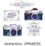 vector watercolour camera... | Shutterstock .eps vector #299048750