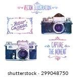 vector watercolour camera... | Shutterstock .eps vector #299048750