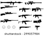 set of various modern weapons ... | Shutterstock .eps vector #299057984
