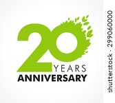20 years old celebrating green... | Shutterstock .eps vector #299060000