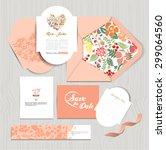 set of vintage wedding cards... | Shutterstock .eps vector #299064560
