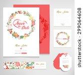 set of vintage wedding cards... | Shutterstock .eps vector #299064608