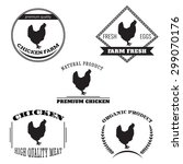 set chicken and eggs farm logo... | Shutterstock .eps vector #299070176