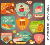 set of sweet cakes and cupcakes ... | Shutterstock .eps vector #299073038