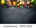 various herbs and spices on... | Shutterstock . vector #299077844