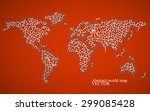 abstract world map. molecule... | Shutterstock .eps vector #299085428
