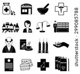 pharmacists icons set | Shutterstock .eps vector #299085788