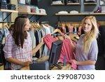 smiling blonde doing shopping... | Shutterstock . vector #299087030