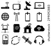 wireless communication icons set | Shutterstock .eps vector #299092883