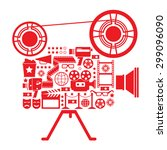 composition with cinema symbols ... | Shutterstock .eps vector #299096090