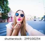 beautiful hipster girl taking... | Shutterstock . vector #299100254
