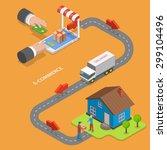 e commerce flat isometric... | Shutterstock . vector #299104496