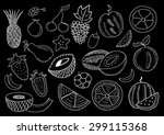 hand drawn fruits | Shutterstock .eps vector #299115368