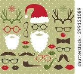 christmas photo booth set | Shutterstock .eps vector #299121089