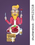 hipster guy eating a steak ... | Shutterstock .eps vector #299121218