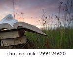 opened hardback book diary ... | Shutterstock . vector #299124620