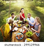 diverse people luncheon food... | Shutterstock . vector #299129966