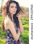 beautiful woman. portrait close ... | Shutterstock . vector #299132960