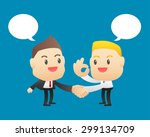 businessman making handshake... | Shutterstock .eps vector #299134709