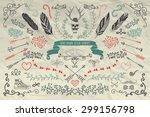 set of artistic hand sketched... | Shutterstock .eps vector #299156798