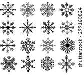 black snowflakes silhouette set | Shutterstock .eps vector #299160824